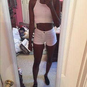 White Cuffed F21 Mom Short